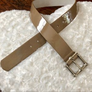 WHBM Patent Leather Belt with Silver Buckle
